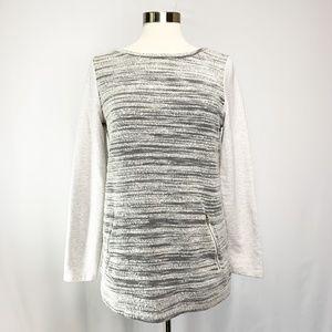 Ann Taylor LOFT Textured Long Sleeve Pullover Top